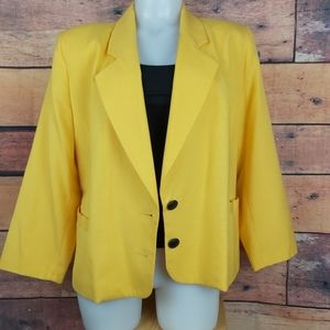 Vintage yellow blazer made in Canada size 14